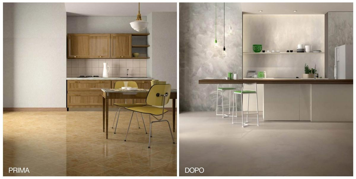 Rinnovare la cucina nuovo pavimento senza togliere le - Cucina senza piastrelle ...