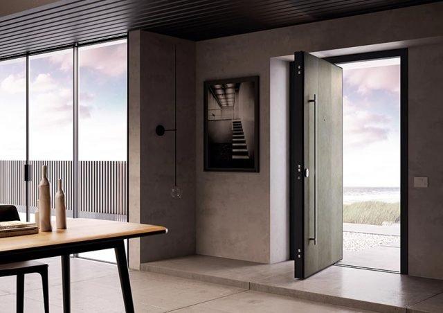 Sei sono le varianti cromatiche di Laminam proposte per la porta Di.Big, un materiale idoneo sia per l'installazione esterna sia per quella interna.