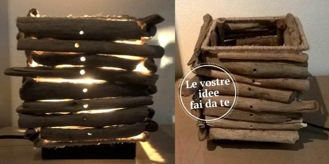 La lampada da appoggio con il paralume di legnetti
