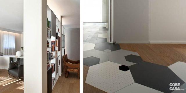 Soluzioni da copiare nella casa con percorso di piastrelle esagonali, libreria che divide e ingloba il pilastro