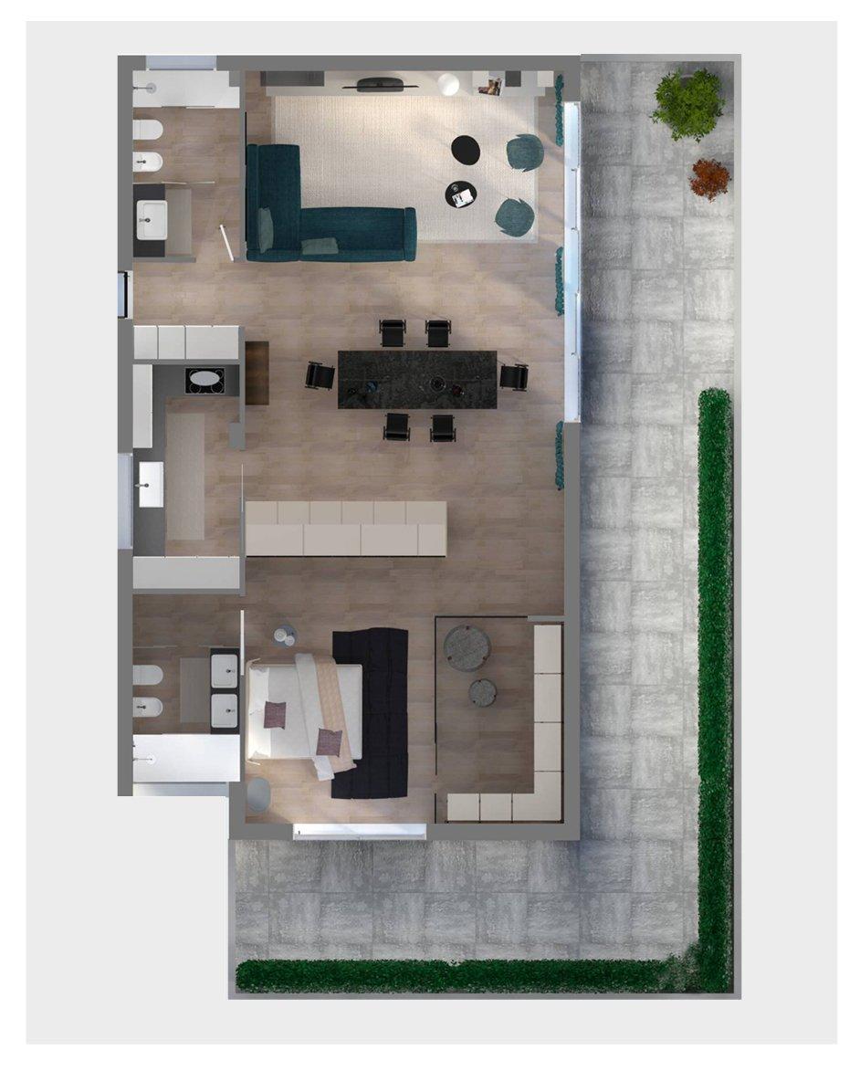 Progetto in 3d dividere con l 39 armadio soggiorno e camera - Progetto camera ...