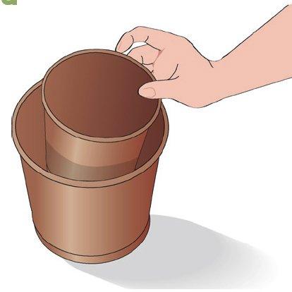 1. Scegliere un vaso più grande rispetto al precedente di 2 cm di diametro. Mettere un po' di composto specifico per piante grasse sul fondo e inserire un vasetto più piccolo delle dimensioni di quello che ospita la nostra pianta: servirà per lasciare uno spazio adeguato alle dimensioni delle radici.