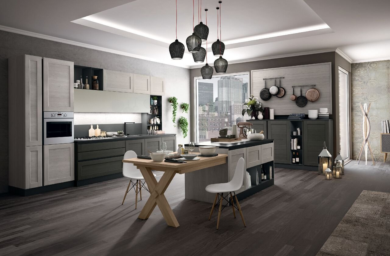 Cucina con l 39 isola in genere divise in due blocchi cose - Tavolo isola cucina ...