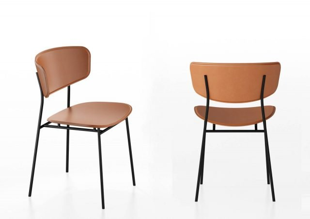 Fifties di Calligaris è la nuova sedia che ha una linea ispirata al design degli Anni Cinquanta. La struttura a quattro gambe è in tondino di metallo verniciato nero opaco e la alleggerisce; la seduta e lo schienale avvolgente sono rivestiti in cuoio cognac disponibile in altre tre colorazioni. Misura L 49 x P 52,5 x H 79,5 cm. www.calligaris.it