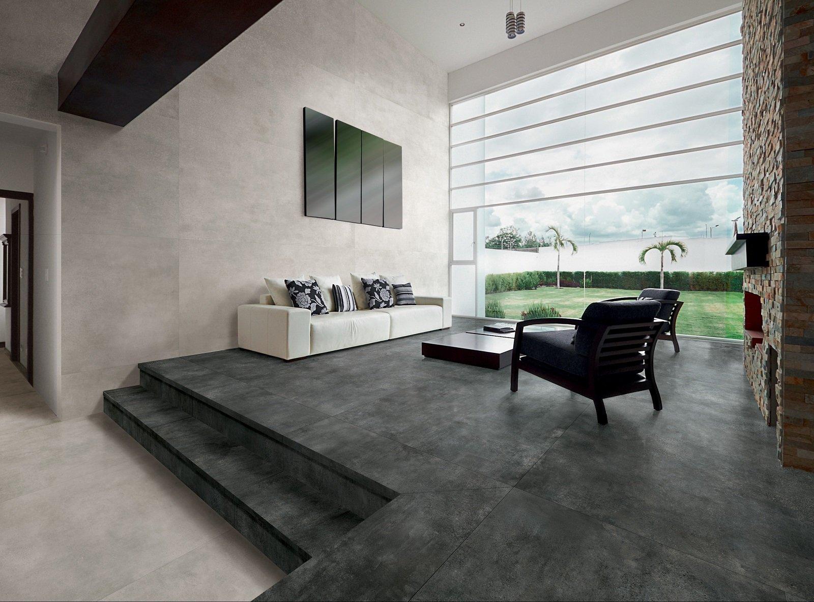 Pavimenti Moderni Senza Fughe i pavimenti in gres porcellanato con effetto cemento hanno