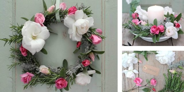 Decorazione floreale per la festa della mamma: la ghirlanda di rose e aromatiche