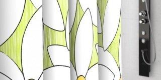Tende doccia Magnolia di Self Italia. Motivo a grandi fiori su tessuto di poliestere, verde acido. Tre le misure: quella di L 180x H 200 cm, costa 24,90 euro. www.selfitalia.it
