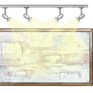 Dall'alto:È il tipo d'illuminazione più usato, anche perché richiama quella naturale del sole. La più classica è quella prodotta da lampade spot poste sopra i quadri. Il fascio di luce (medio-stretto) deve essere orientato verso il soggetto. Per un dipinto piccolo (50x50 cm) ne bastano uno o due.