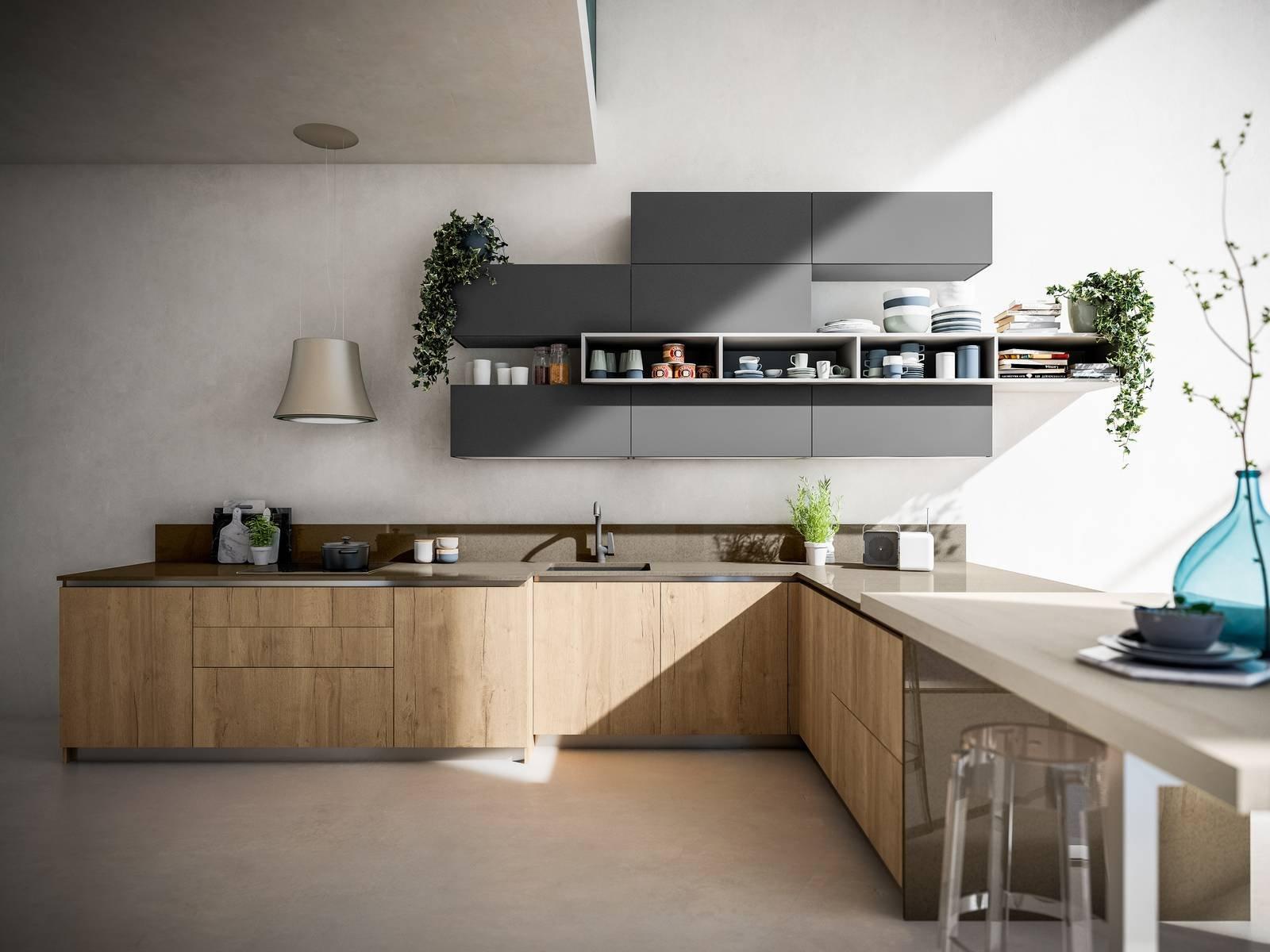 Cucina effetto legno la bellezza dell 39 essenza con i vantaggi economici dei materiali che la - Arrex cucine moderne ...