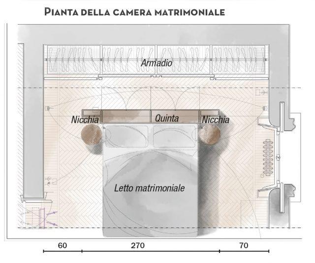 110 mq con una parete in vetro per dividere soggiorno e for Planimetria camera da letto