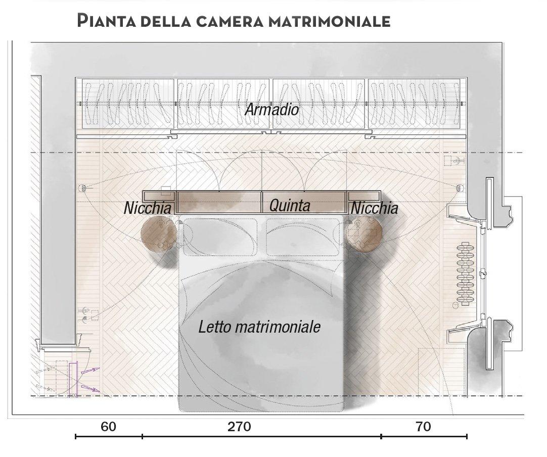 110 mq con una parete in vetro per dividere soggiorno e corridoio e con la cabina armadio dietro - Planimetria camera da letto ...