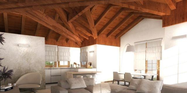 Progetto per la mansarda in 3D con orditura del tetto articolata e scenografica