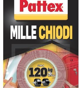 Pattex Millechiodi di Pattex è il nastro biadesivo adatto a molti materiali. Per interni ed esterni. Medio, costa 5,5 euro. www.pattex.it