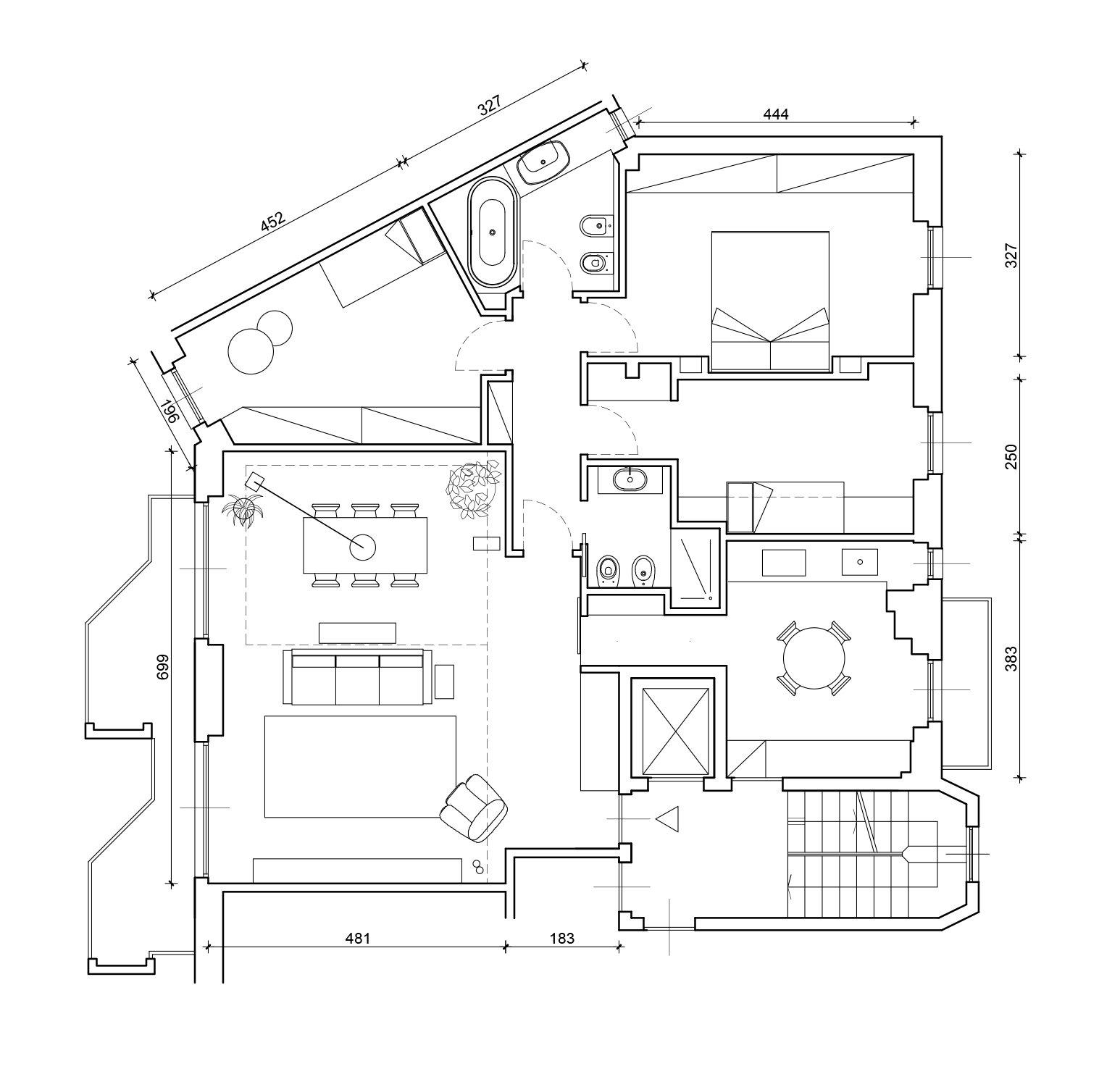 Planimetria Casa Con Misure 130 mq: soggiorno doppio e cucina separata per la casa con