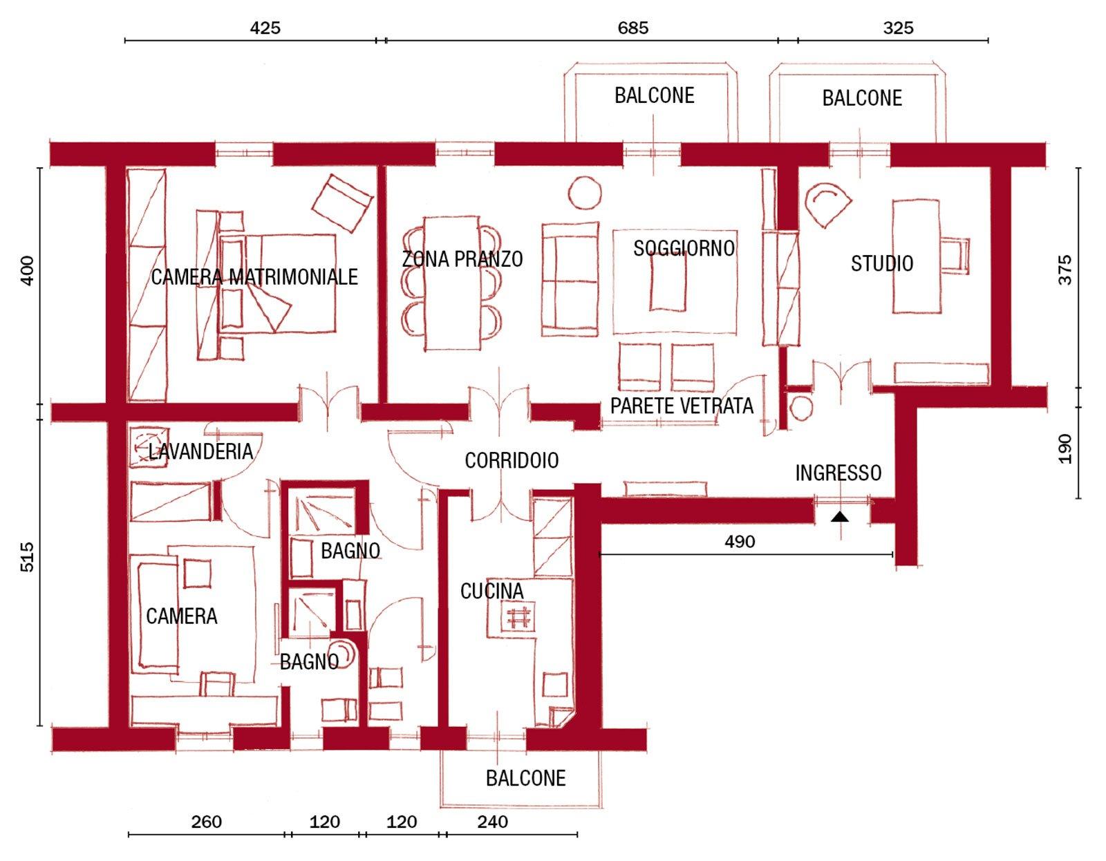 110 mq con una parete in vetro per dividere soggiorno e for Planimetrie della casa piscina con bagno
