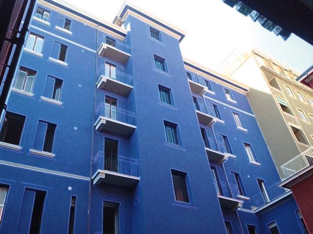 Nella foto: facciate rifinite con Acrisyl di Colorificio San Marco, il fondo di finitura per esterni pigmentato a base di dispersioni acril-silossaniche in acqua e inerti altamente riempitivi