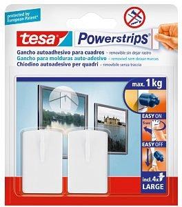 Reggono quadri fino a 1 kg di peso i ganci biadesivi rimovibili di Tesa; la confezione costa 3,90 euro. www.tesaitalia.it