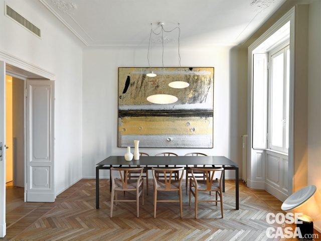 110 mq con una parete in vetro per dividere soggiorno e - Zona pranzo design ...