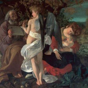 Michelangelo Merisi da Caravaggio, Riposo durante la fuga in Egitto, 1596-1597. Olio su tela, 135,5 x 166,5 cm. Roma, Galleria Doria Pamphilj © 2017