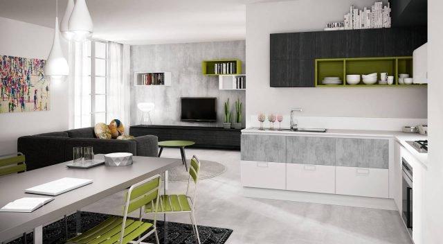 berloni b50 cemento cucina coordinata con il living