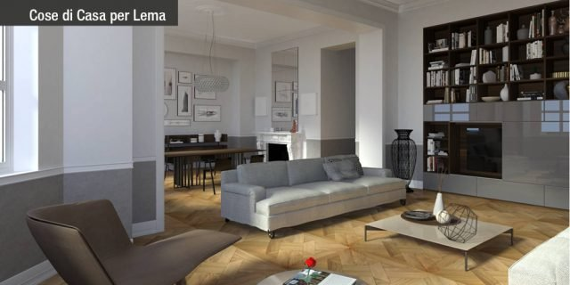 Casa d'epoca, arredi contemporanei: progetto di interior design in 3D