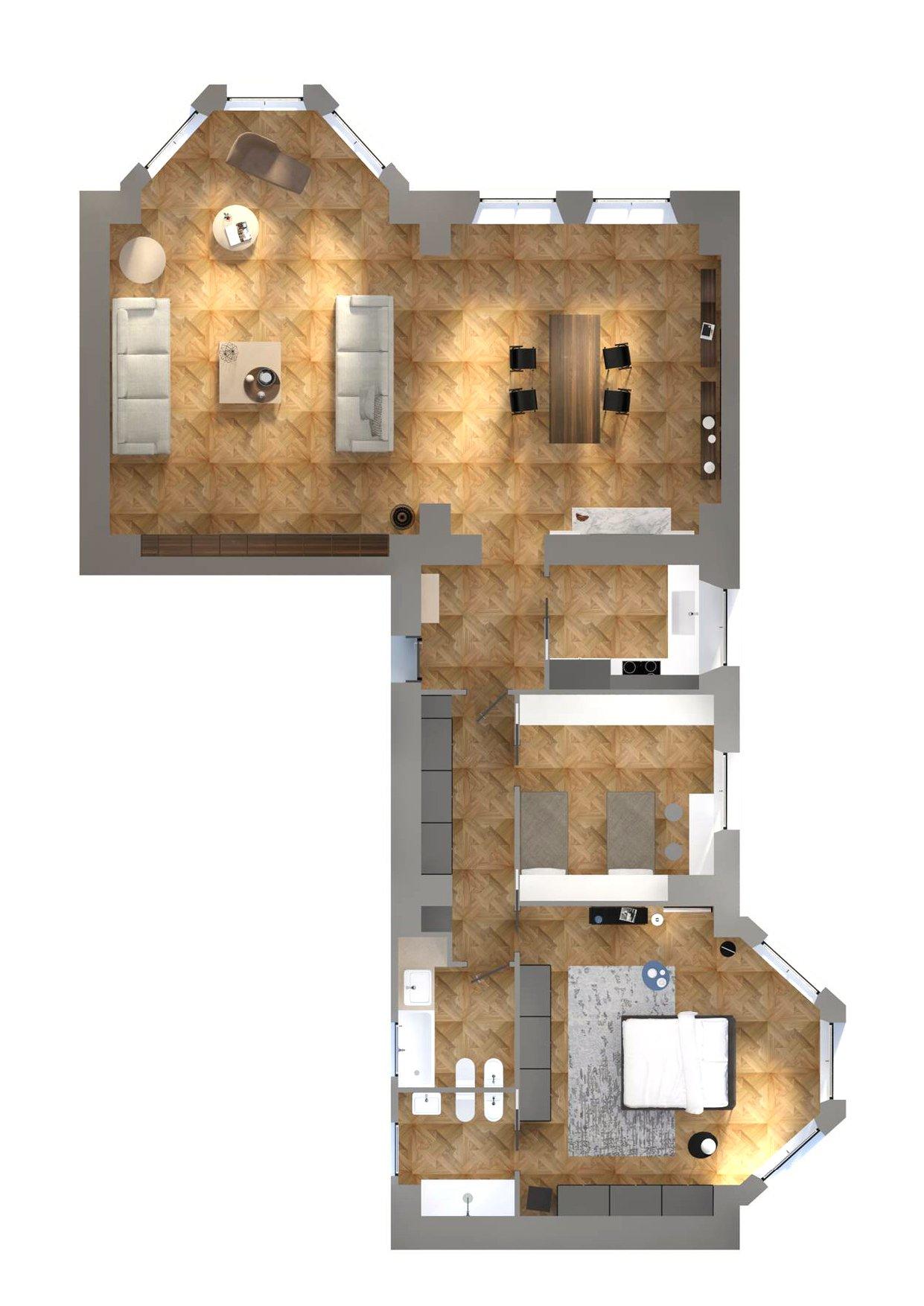 Casa d epoca arredi contemporanei progetto di interior for Progetto 3d casa
