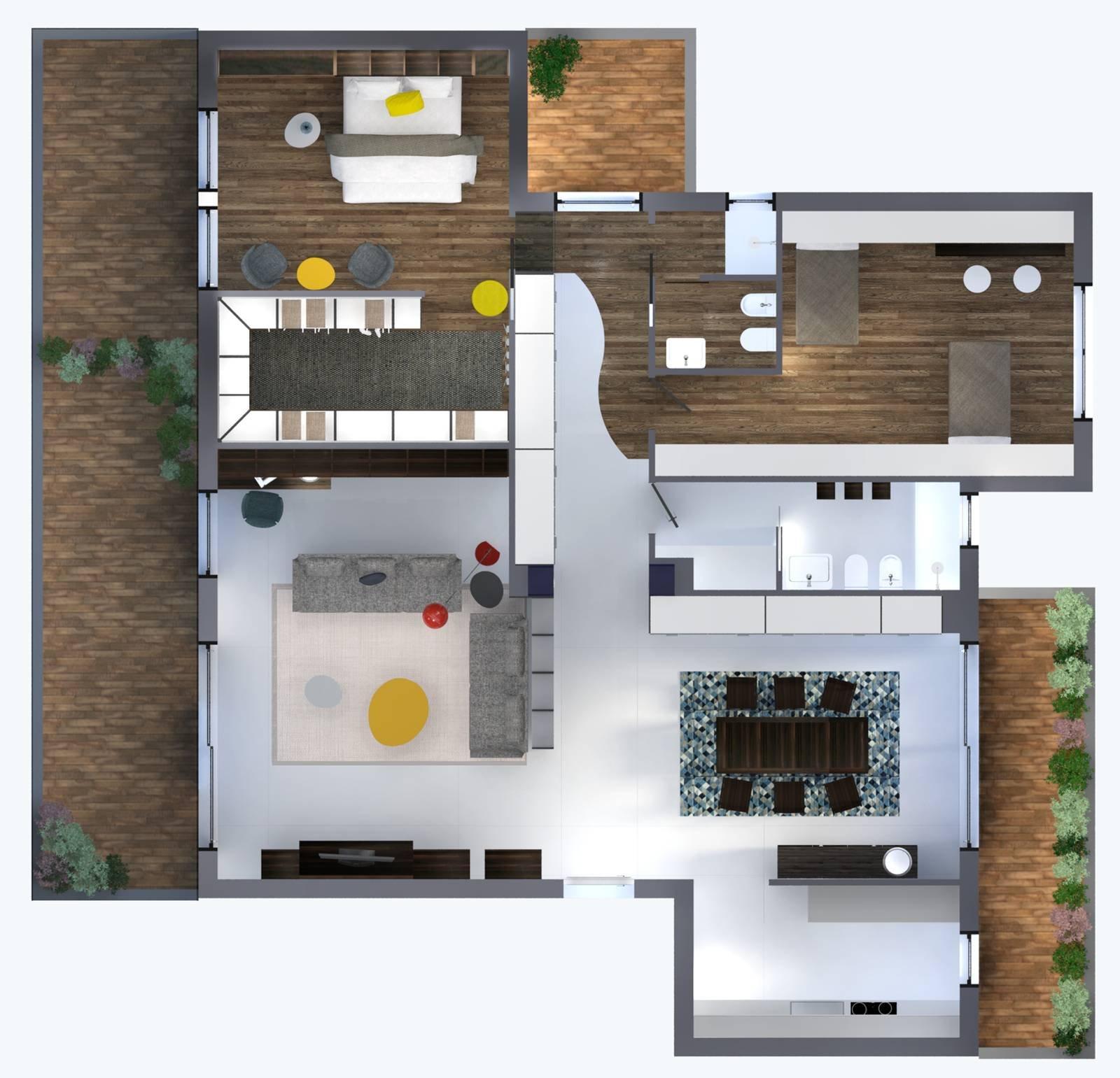 Progetti in 3d contenere al massimo con i sistemi per la for Progetti di cucina open space