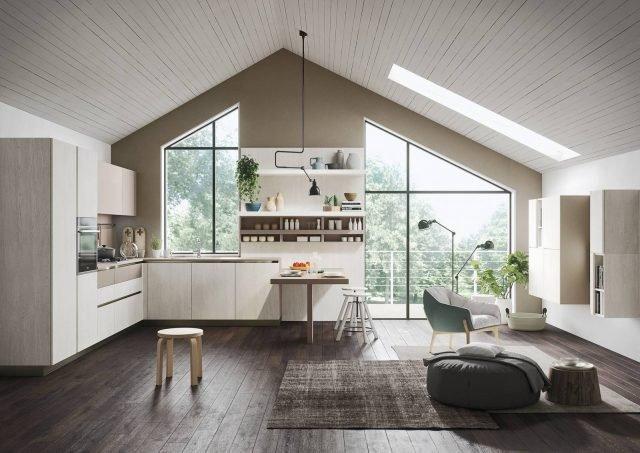 snaidero first-rovere-gessato-bianco cucina coordinata con il living