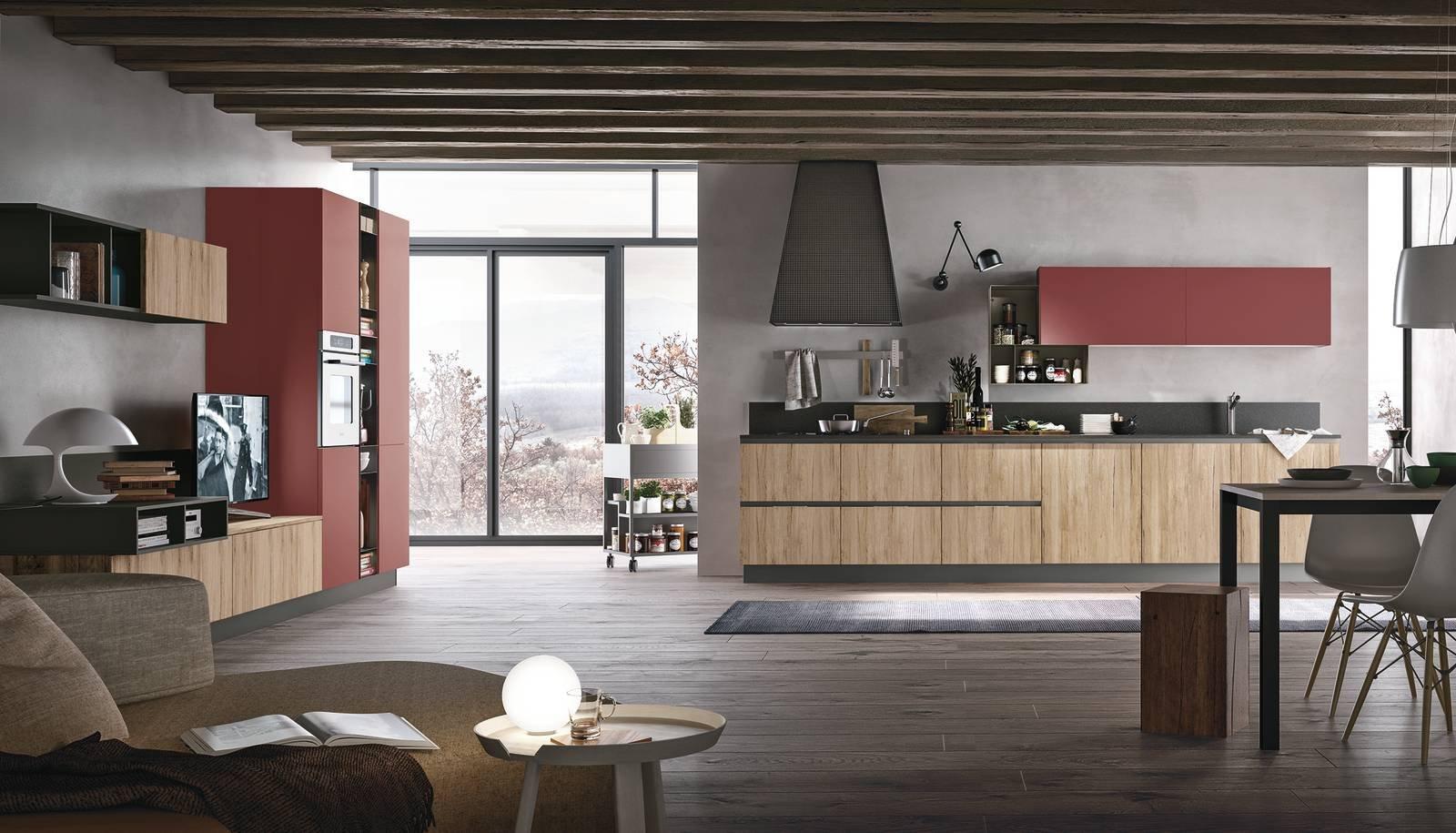 14 soluzioni coordinate di cucina soggiorno colore torino for Parete rossa soggiorno