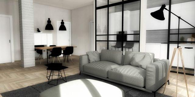Da tradizionale a contemporaneo: il progetto in 3D di un appartamento in stile industriale