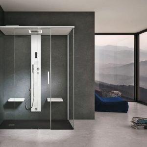 Il bagno turco nella cabina doccia design minimal di una - Colonna doccia bagno turco ...