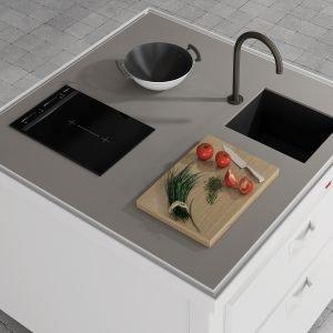 UN'ISOLA A PIANTA QUADRATA: La cucina Isola Mini Minà di Minacciolo, nella versione base con 2 cassettoni estraibili, integra la zona lavaggio e la zona cottura.La struttura ed i frontali sono in acciaio nero goffrato, i pannelli in HDF in diversi colori. Il piano può essere personalizzato in acciaio, in diverse finiture, cemento in vari colori, cocciopesto o Fenix. Misura L 136 x P 136 X H 92 cm. Prezzo su richiesta. www.minacciolo.it