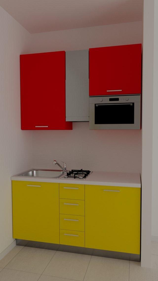 BASI+PENSILI MULTICOLOR: Colori fluorescenti per Tiny di Mobilificio Cavinato, cucina disponibile laccata opaco o laminata, modulare o su misura in base alle esigenze della casa. In soli 150 cm, si ha tutto il necessario per cucinare e lavare. Ha una larghezza di 150 cm, nella versione laminato senza elettrodomestici, prezzo 870 euro (esclusi gli elettrodomestici). www.mobilificiocavinato.it