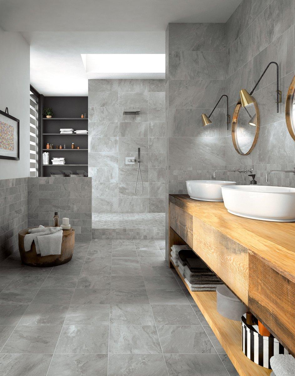 Piastrelle per il bagno dallo stile contemporaneo al for Piastrelle bagno pietra
