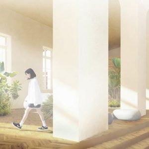 Lo spostamento dell'ingresso esistente permette la creazione di un nuovo foyer capace di essere al contempo atrio, spazio relax per gli studenti e luogo di comunicazione con la città e il quartiere. Il concetto di biblioteca diffusa anima gli spazi di relazione tra i diversi piani; la palestra, con l'addizione di una sala studio vetrata che può fungere da balconata, si dona come flessibile spazio multiuso.