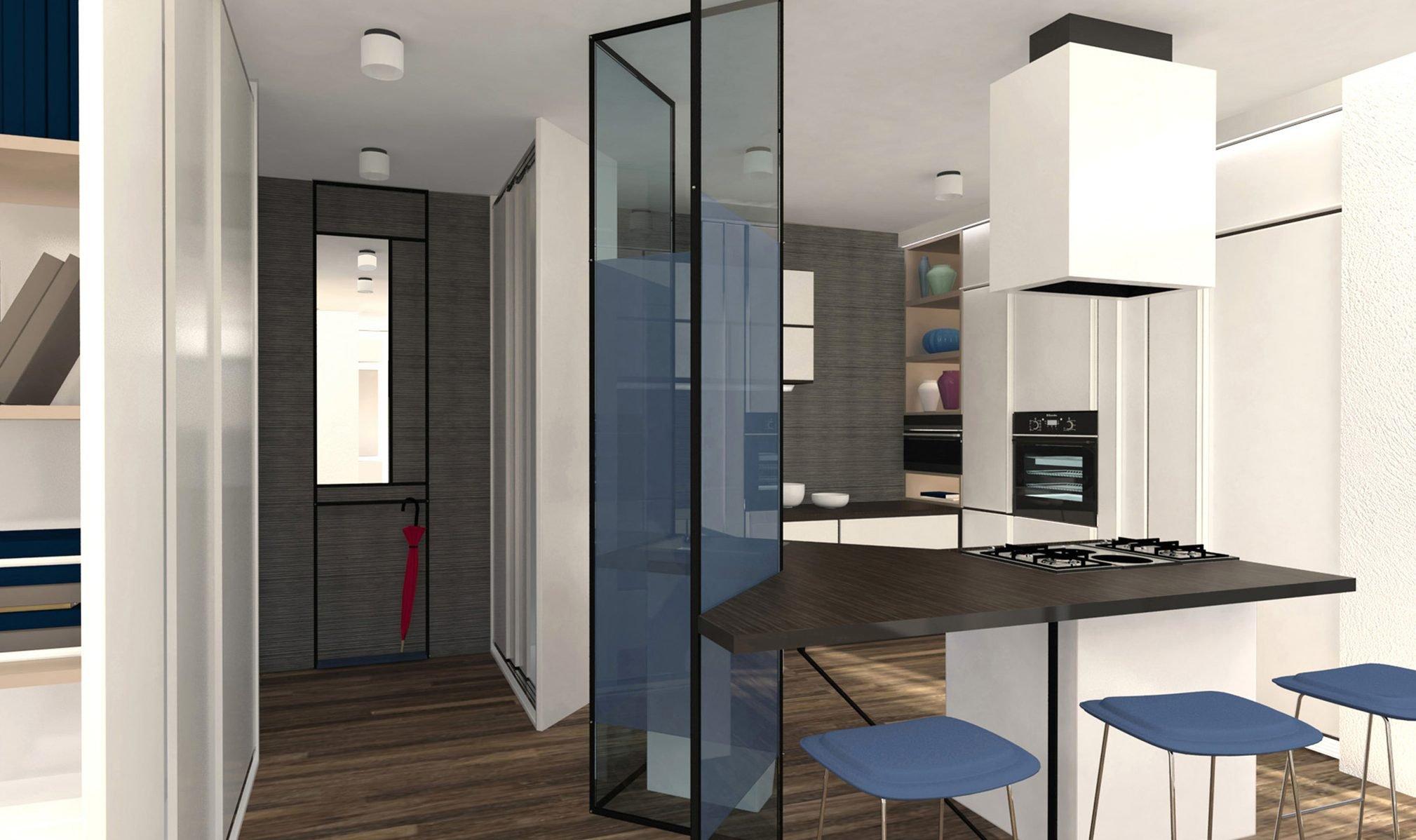 Mascherare la cucina dall 39 ingresso progetto in 3d cose for Costruire isola cucina