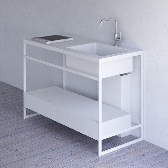 ESSENZIALE IN TUTTI I SENSI: Il modulo cucina freestanding Fine di Sanwa Company è super minimal, secondo gusto e design giapponese. Ha la struttura in acciaio in due colori (bianco e nero), mentre il piano è in marmo. Due le misure L 90 x P 55x H 85 cm oppure L 120x P 55 x H 85 cm. In collezione anche elementi per il bagno. Prezzo su richiesta. wwww.sanwacompany.co.jp