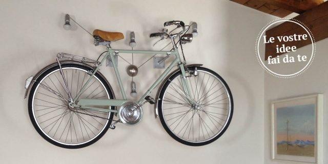 La bicicletta diventa una maxi lampada a parete