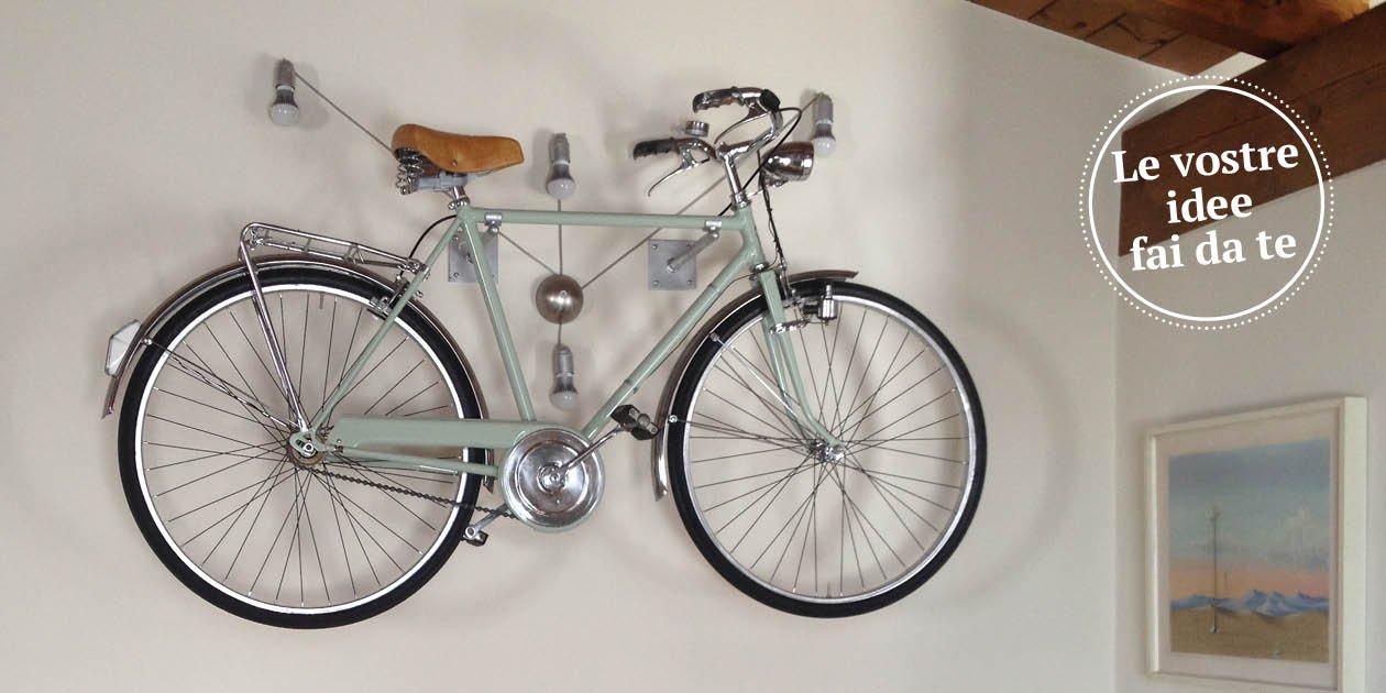 La bicicletta diventa una maxi lampada a parete cose di casa - Portapentole da soffitto ...