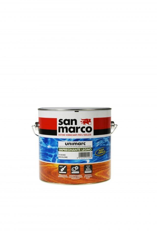 Unimarc Impregnante Legno di Colorificio San Marco è un prodotto a base di resine acriliche/alchidiche all'acqua, per l'impregnazione e la finitura del legno all'interno ed all'esterno. Conferisce protezione ai raggi UV, alle intemperie ed ai cicli gelo/disgelo. Altamente traspirante, ravviva le tonalità lasciando visibili le venature originarie. Da 2,5 litri prezzo 45,50 euro.