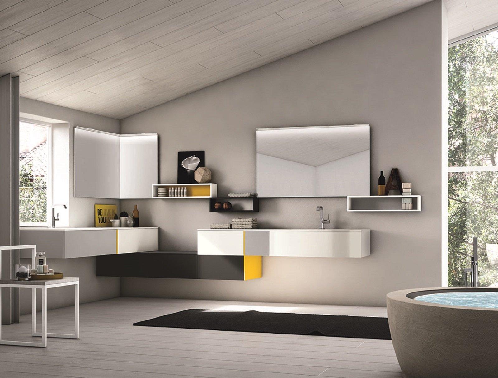 I mobili lavabo sospesi sono i protagonisti dell\'arredo bagno.
