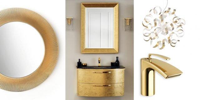 Finitura dorata per rubinetterie & Co. per un bagno decor, d'effetto prezioso
