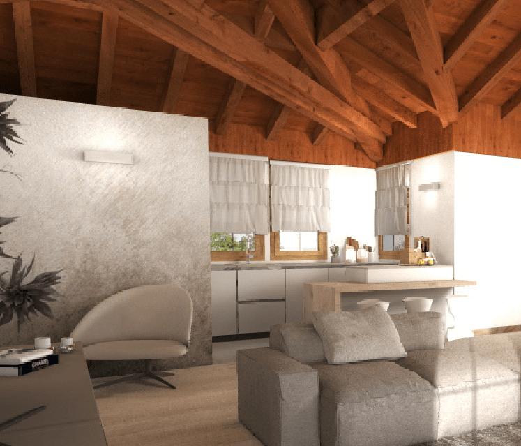 Progetto per la mansarda in 3d con orditura del tetto for Mansarda in legno bianco