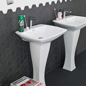 Si rifà sia allo stile déco sia a quello degli anni '60, il lavabo a colonna Jazz di The.Artceram in ceramica bianca. Misura L 70 x P 49 cm, la colonna è alta 70 cm. Prezzo 525 euro. www.artceram.it