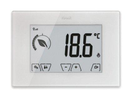 I termostati e i cronotermostati da parete e da incasso di Vimar (www.vimar.com/it) offrono funzioni evolute per la gestione intelligente del clima e dell'energia, grazie all'integrazione con la domotica By-me.