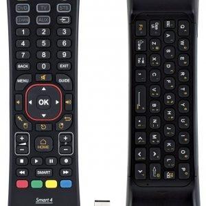 L'innovativo telecomando 4 in 1 Smart4 di Meliconi, è dotato di una utile tastiera Qwerty integrata senza fili, completa, funzionale e dal design ergonomico, compatibile con molte delle TV Smart attualmente sul mercato dotate di supporto HID e funzionalità senza fili attraverso ricevitore USB. La tastiera è ricca di funzioni e oltre alla TV permette di controllare tre diverse sorgenti a/v a scelta, fra cui decoder digitale terrestre, satellitari e Sky, oltre a lettori DVD, Blu ray o VCR e altri dispositivi come iptv e box multimediali. Prezzo 49,99 euro. www.meliconi.com