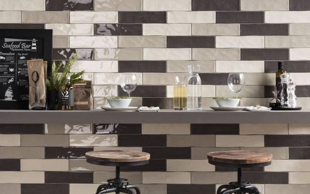Polis Ceramiche, Collezione Charlestone, il rivestimento lucido in pasta bianca. Sky grey + Brown sugar + Desert rose 7,5x30