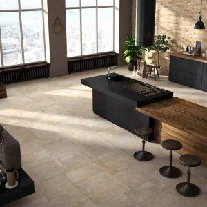 Polis Ceramiche, collezione Chateau e Loft Design. Chateau creme 60x60, 30x60, 45x45 + Loft Vanilla 6x25