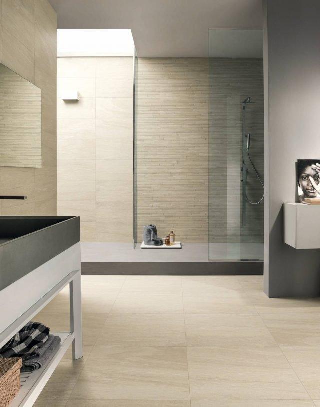 Polis Ceramiche, Serie Montagne, ispirata all'eleganza ella pietra. Davos 30x60, Davos 60x60 + fascia su rete 30x60