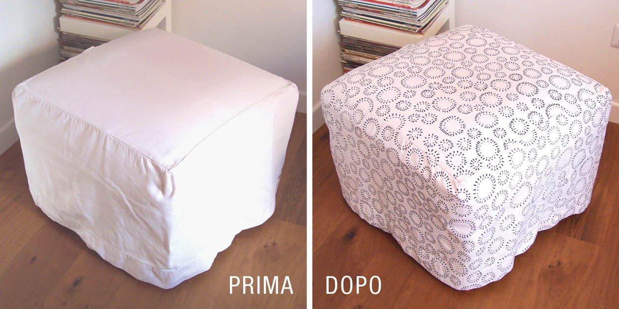 Decorare un tessuto e rinnovare il pouf cose di casa for Cose per la casa fai da te